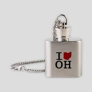I Heart Ohio Flask Necklace