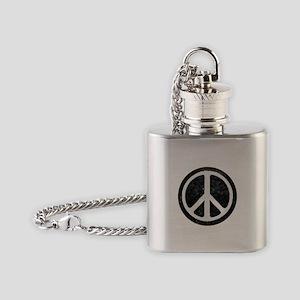 Original Vintage Peace Sign Flask Necklace