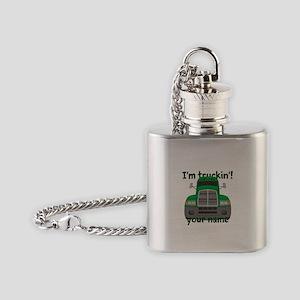 Personalized Im Truckin Flask Necklace