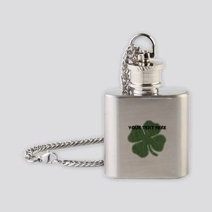 Personalizable Vintage Shamrock Flask Necklace