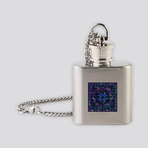 Blue Quilt Flask Necklace