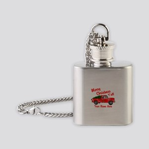 Merry Christmas Yall Flask Necklace