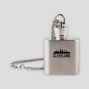 Skyline of Cleveland OH Flask Necklace