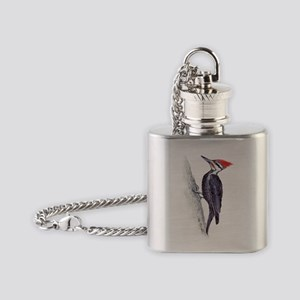 handsome pileated woodpecker Flask Necklace