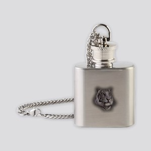 White Tiger Face Flask Necklace