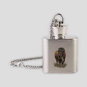 Watercolor Buffalo Bison Animal Art Flask Necklace