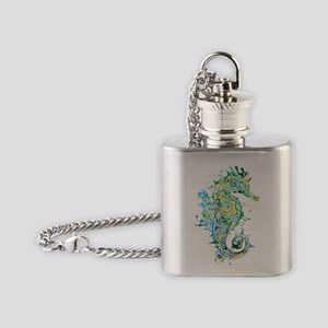 Paisley Seahorse Flask Necklace