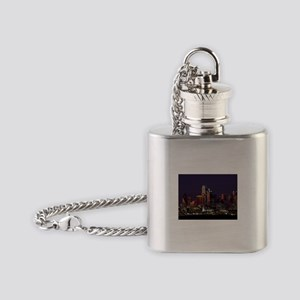 Dallas Skyline at Night Flask Necklace