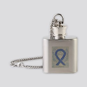 ALS Awareness Ribbon Angel Flask Necklace