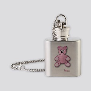Pink Gingham Teddy Bear Flask Necklace