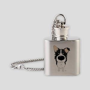 BorderCollieShirtFront Flask Necklace
