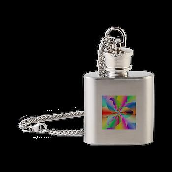 Fractal Fire Flower Flask Necklace