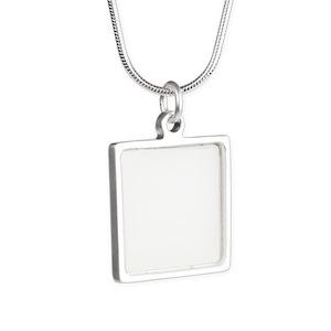 Custom Silver Square Necklaces