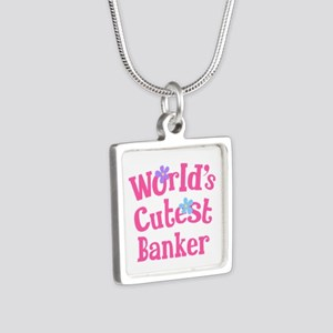 World's Cutest Banker Silver Square Necklace