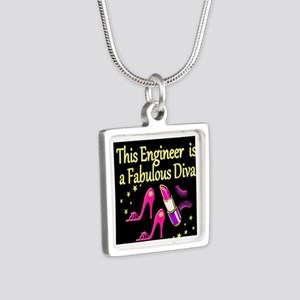 ENGINEER DIVA Silver Square Necklace