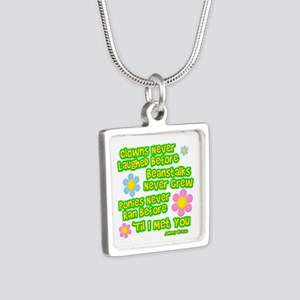 Clowns Never Laughed Before Silver Square Necklace
