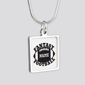 Personalized Fantasy Football Silver Square Neckla