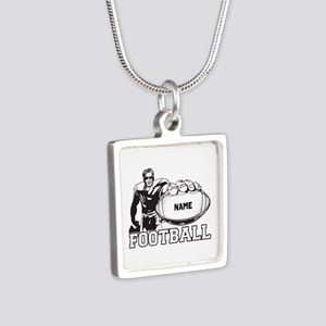 Personalized Football Player Silver Square Necklac