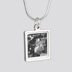 Add a Photo Round Charm Silver Square Necklace