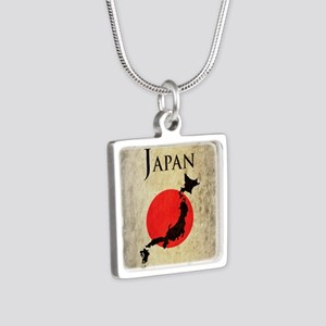 Map Of Japan Silver Square Necklace