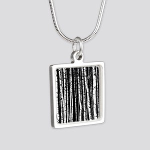 Artistic Birch Trees in black and white Necklaces