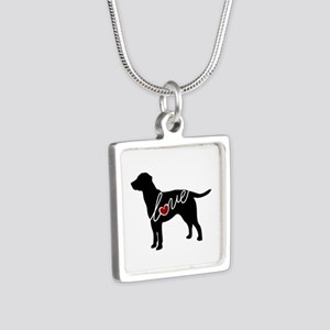 Labrador Love Silver Square Necklace