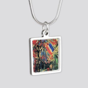 Van Gogh 14 July in Paris Silver Square Necklace