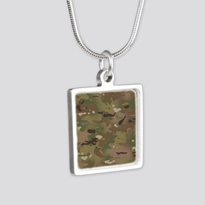 Military Camouflage Patter Silver Square Necklace