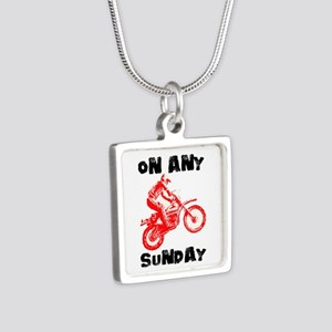 ON ANY SUNDAY Silver Square Necklace