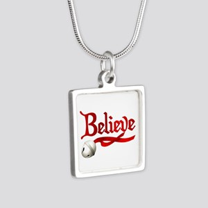 Believe Silver Square Necklace
