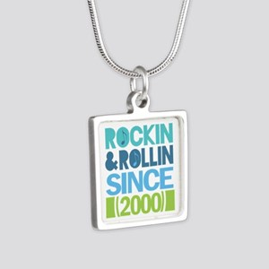 2000 Birthday Silver Square Necklace