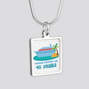 45th Anniversary Cruise Silver Square Necklace
