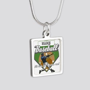 Personalized Home Run Time Silver Square Necklace