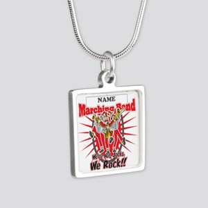 Marching Bands Rock(Red) Silver Square Necklace