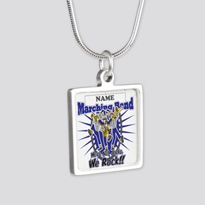Marching Band Rocks(Blue) Silver Square Necklace