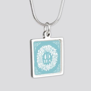 45th Anniversary Wreath Silver Square Necklace