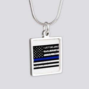 Horizontal style police flag Necklaces