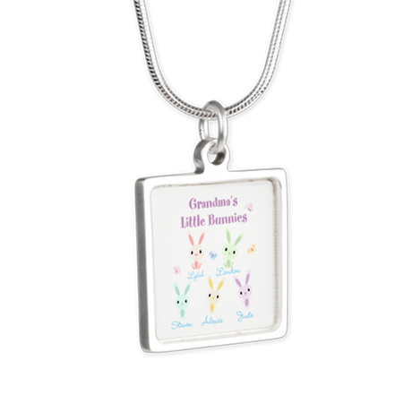 Grandmas little bunnies custom Silver Square Neckl