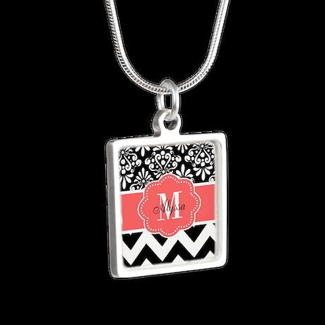 Black Coral Chevron Personalized Necklaces