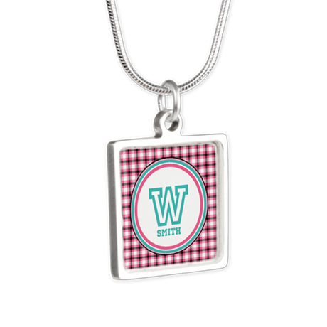 Customizable Monogram Silver Square Necklace