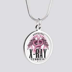 X-Ray-Tech-Pink-Caduceus Silver Round Necklace