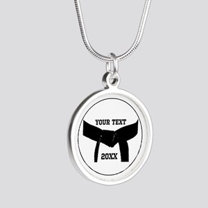 Custom Martial Arts Black Belt Silver Necklace
