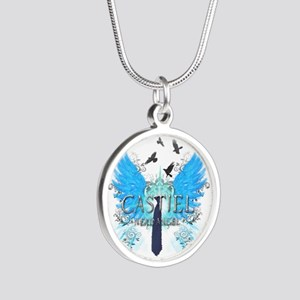 Nerd Angel 2 Silver Round Necklace