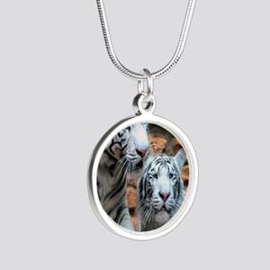 Enjoying peace and love Haif Silver Round Necklace