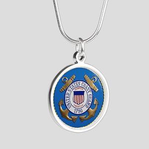 USCG Emblem Silver Round Necklace