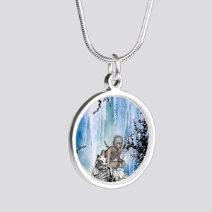 Awesome snow tiger with fantasy girl Necklaces