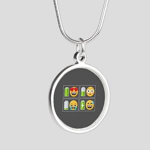 Emoji Phone Battery Silver Round Necklace