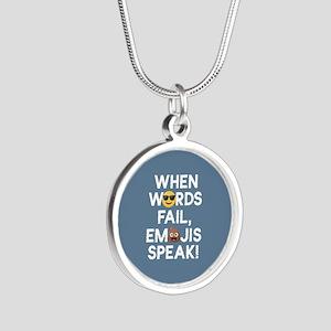 Emoji Words Fail Emojis Spea Silver Round Necklace
