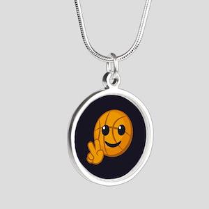 Basketball Peace Emoji Silver Round Necklace