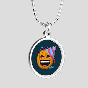Basketball Party Emoji Silver Round Necklace